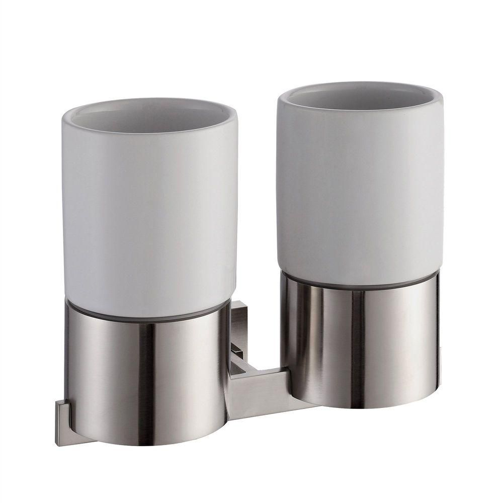 Aura Bathroom Accessories - Wall-Mounted Double Ceramic Tumbler Holder Brushed Nickel