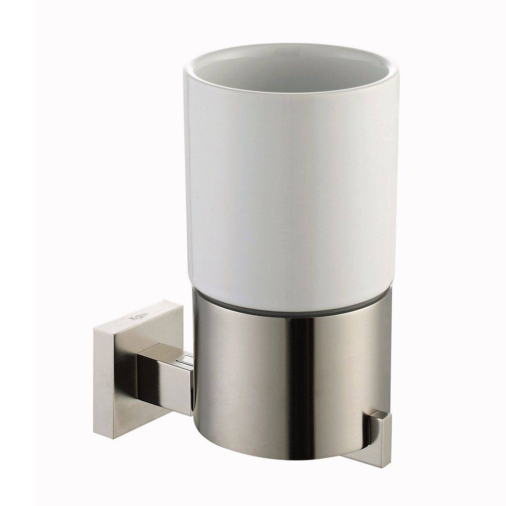 Aura Bathroom Accessories - Wall-Mounted Ceramic Tumbler Holder Brushed Nickel