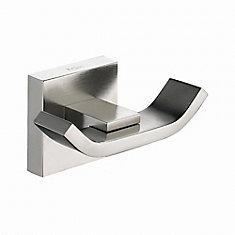 Aura Bathroom Accessories - Double Hook Brushed Nickel