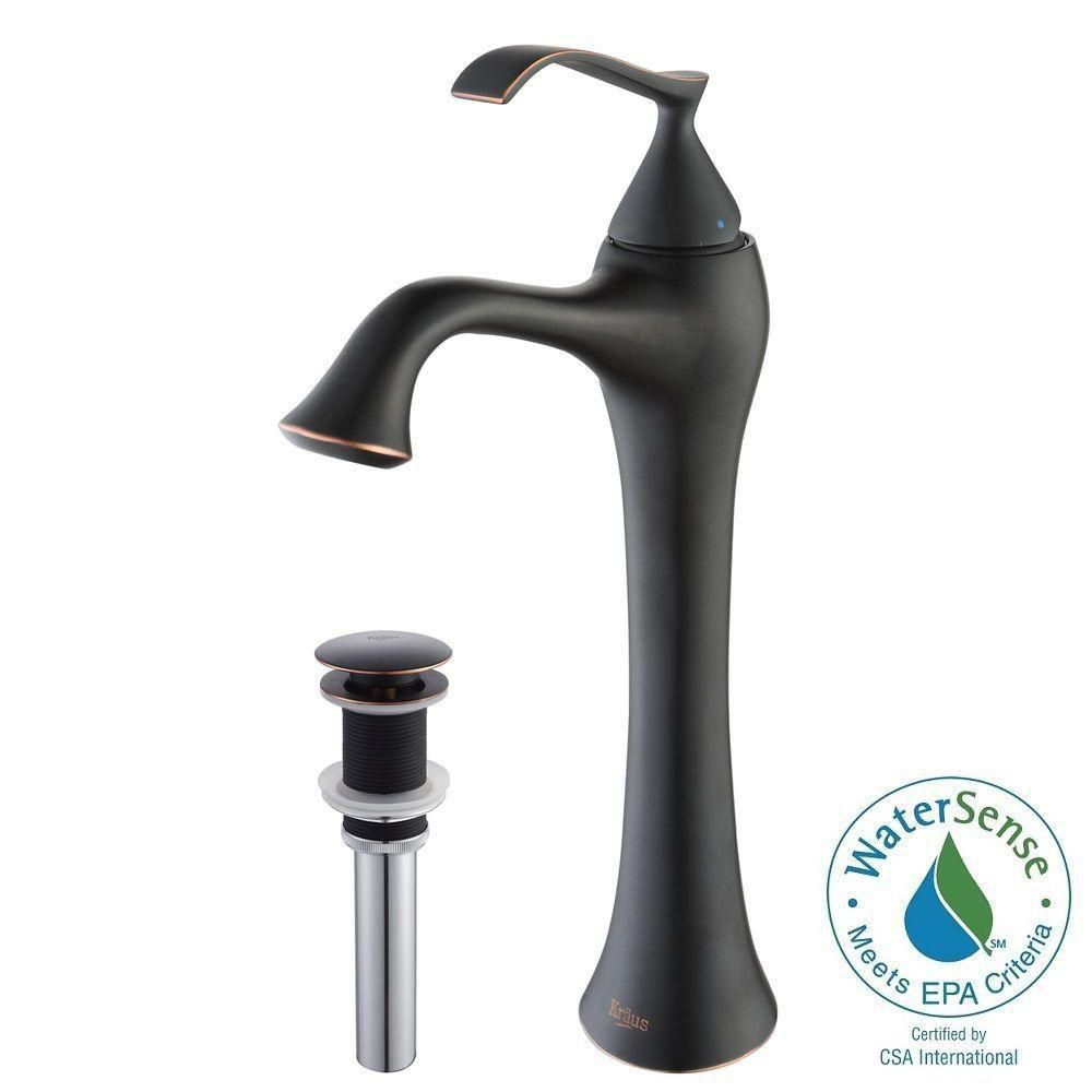 Ventus Single-Lever Vessel Bathroom Faucet with Pop-Up Drain in Oil Rubbed Bronze Finish