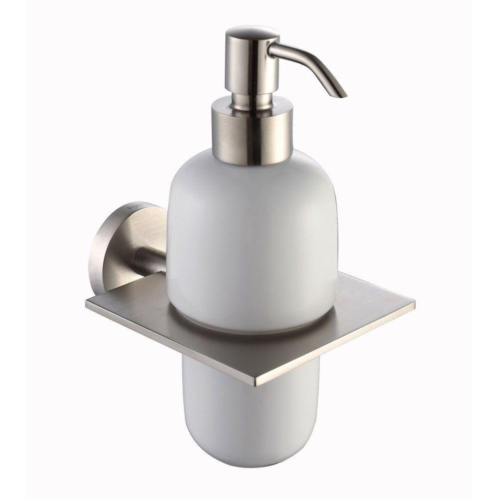Accessoires pour salle de bains Imperium - Distributeur à lotion mural en céramique, nickel bross...