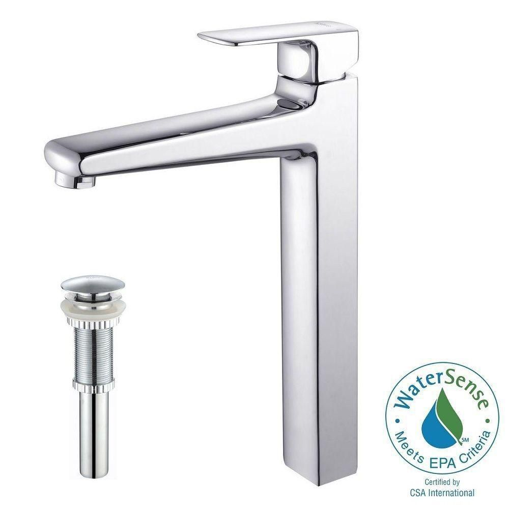 Virtus Single-Lever Vessel Bathroom Faucet with Pop-Up Drain in Chrome Finish