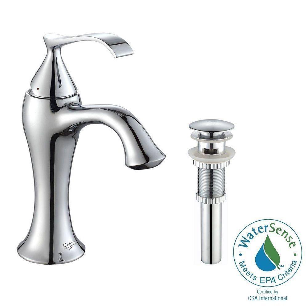 Robinet de basin Ventus à levier simple avec drain escamotable et déversoir, chrome