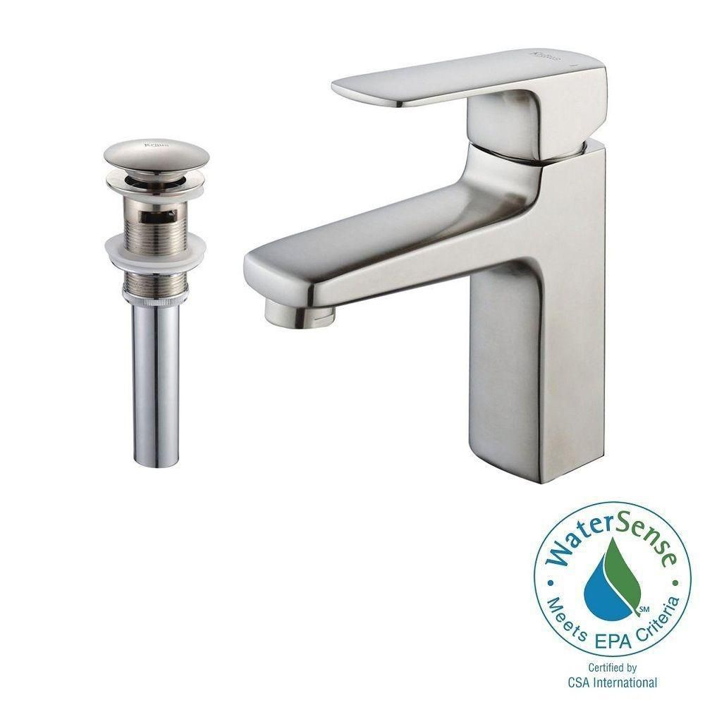 Virtus Single-Lever Basin Bathroom Faucet and Pop-Up Drain with Overflow in Brushed Nickel Finish