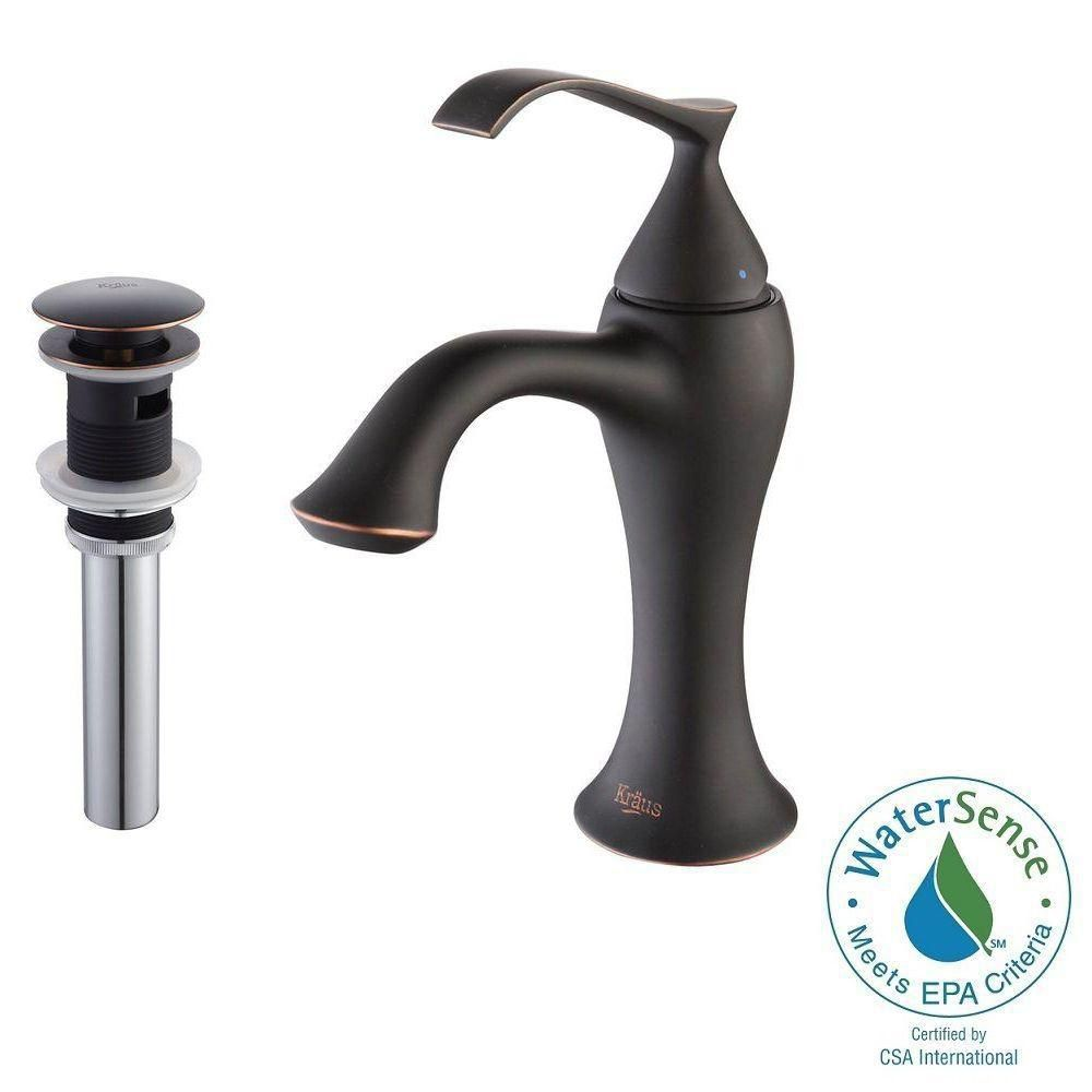 Ventus Single-Lever Basin Bathroom Faucet with Pop-Up Drain with Overflow in Oil Rubbed Bronze