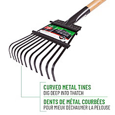 Garden Care 8-inch Shrub Rake, Steel Tines, Hardwood Handle
