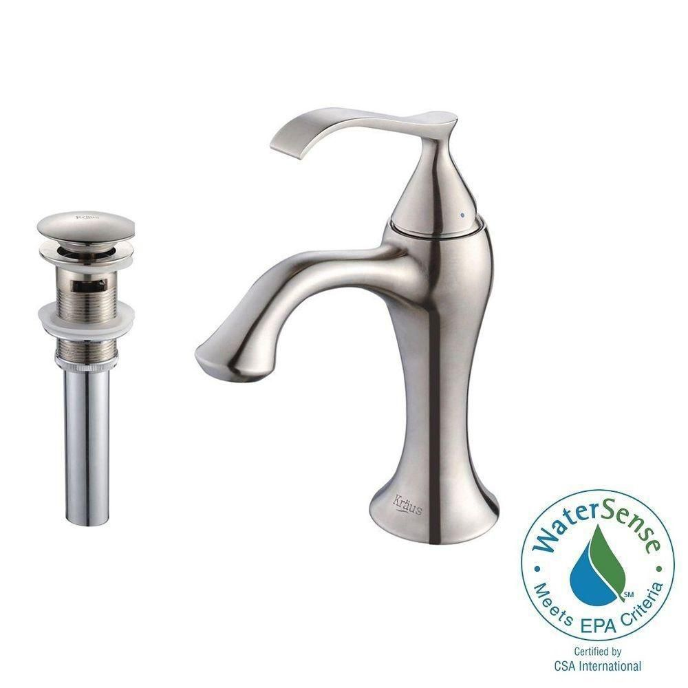 Ventus Single-Lever Basin Bathroom Faucet with Pop-Up Drain with Overflow in Brushed Nickel Finis...