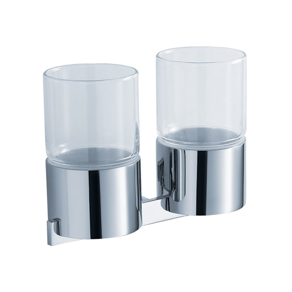 Aura Bathroom Accessories - Wall-Mounted Double Glass Tumbler Holder