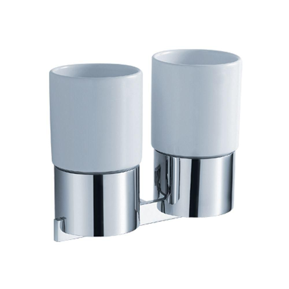 Aura Bathroom Accessories - Wall-Mounted Double Ceramic Tumbler Holder