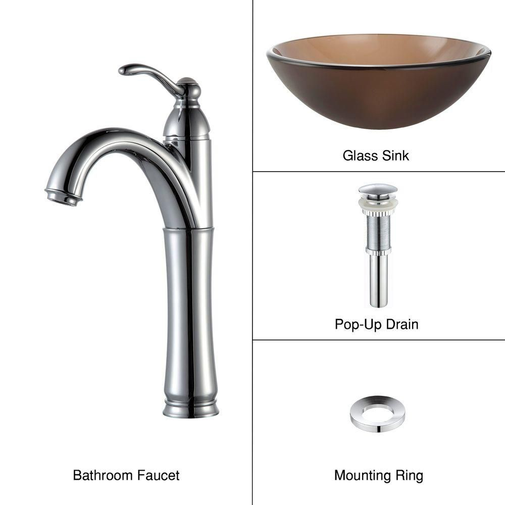 Frosted Glass Vessel Sink in Brown with Riviera Faucet in Chrome