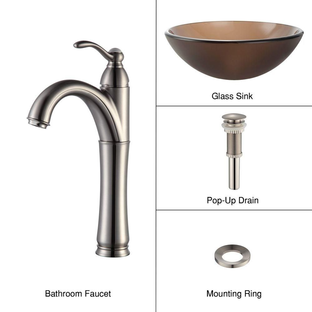 Frosted Glass Vessel Sink in Brown with Riviera Faucet in Satin Nickel