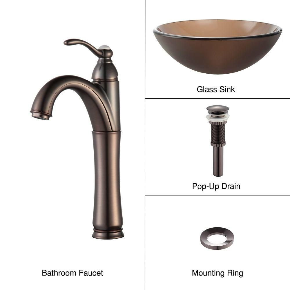 Frosted Glass Vessel Sink in Brown with Riviera Faucet in Oil-Rubbed Bronze