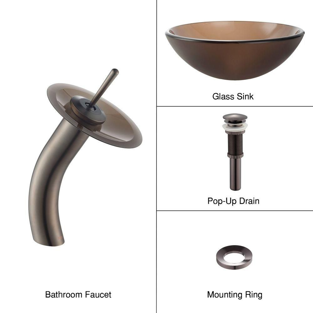 Frosted Glass Vessel Sink in Brown with Waterfall Faucet in Oil-Rubbed Bronze