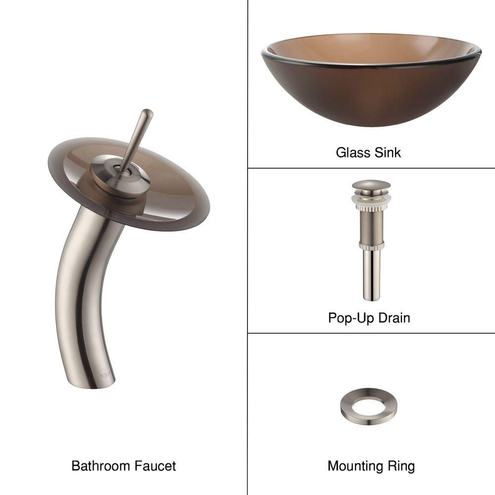 Frosted Glass Vessel Sink in Brown with Waterfall Faucet in Satin Nickel