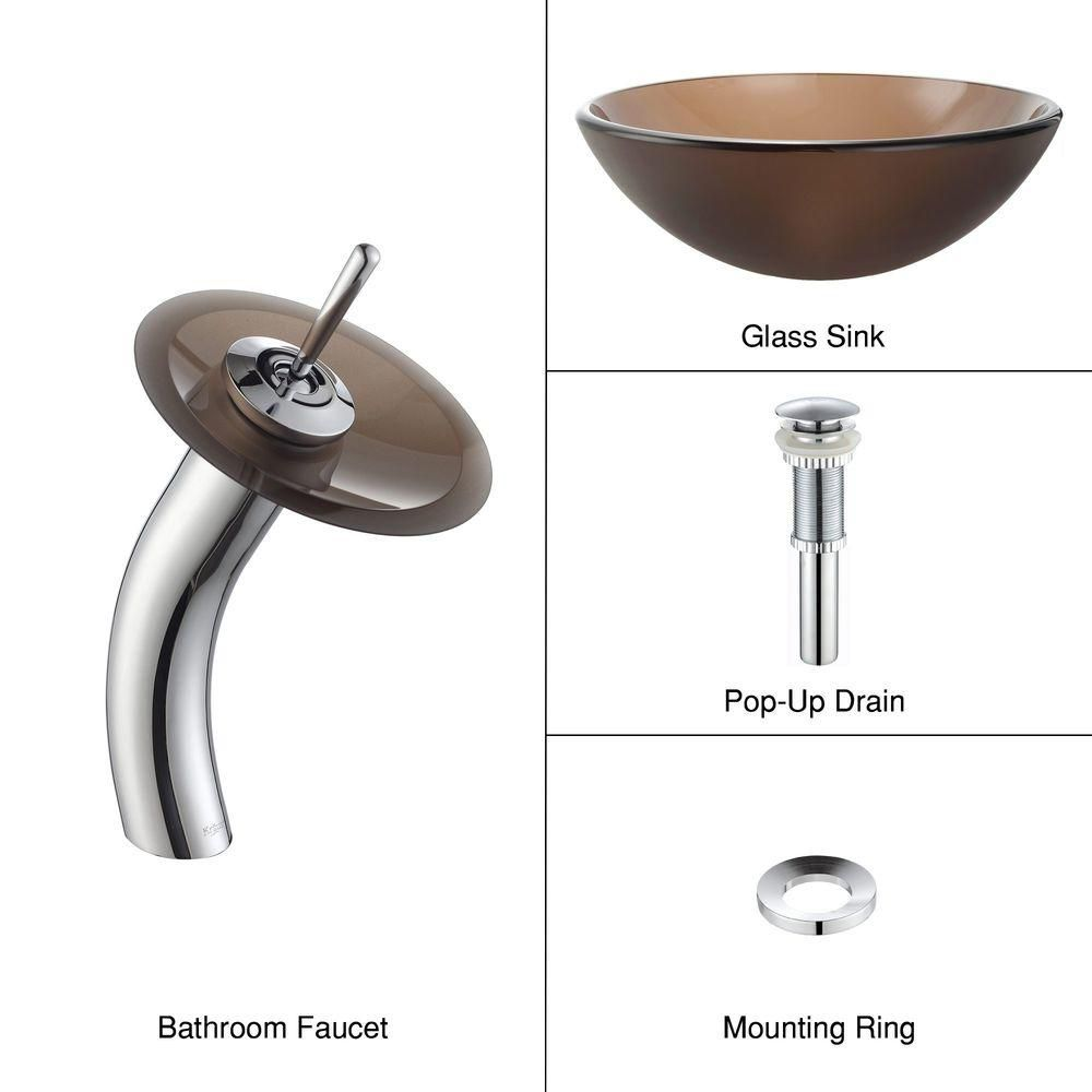 Frosted Glass Vessel Sink in Brown with Waterfall Faucet in Chrome