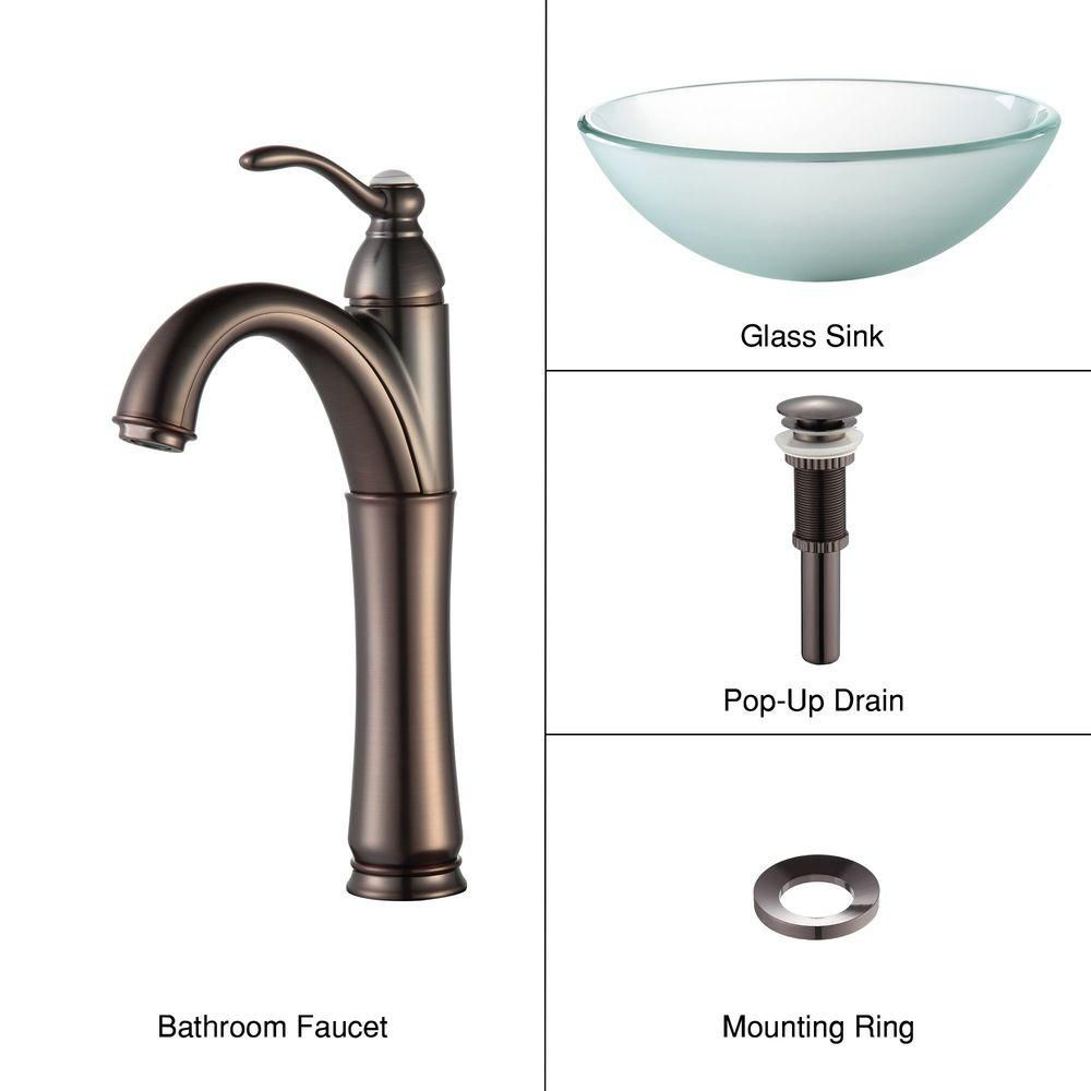 Frosted Glass Vessel Sink with Riviera Faucet in Oil-Rubbed Bronze