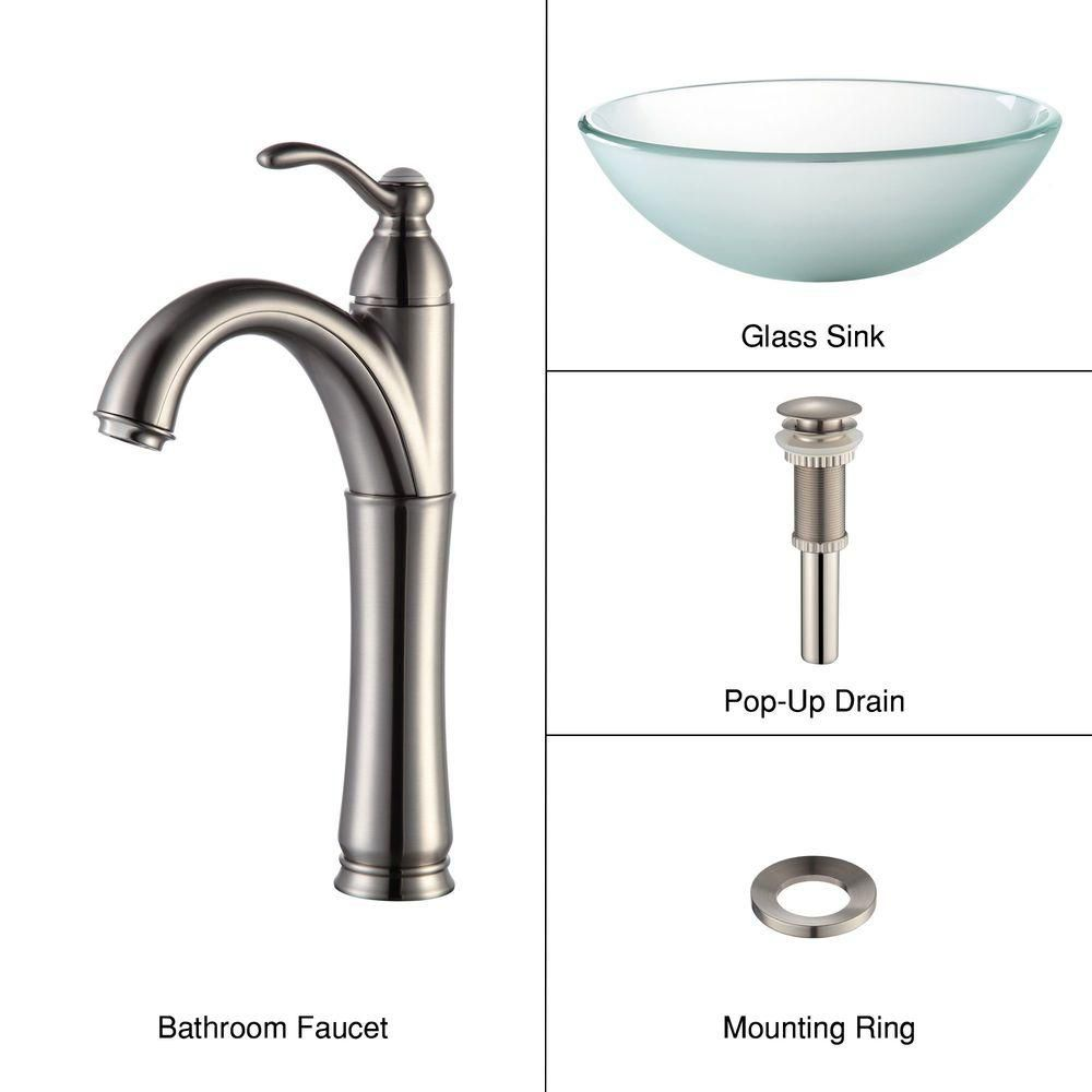 Frosted Glass Vessel Sink with Riviera Faucet in Satin Nickel