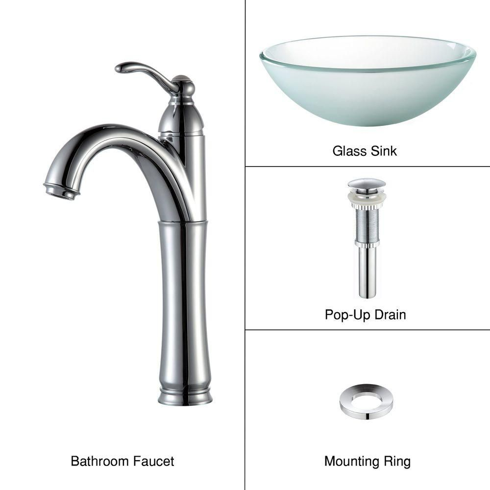 Frosted Glass Vessel Sink with Riviera Faucet in Chrome
