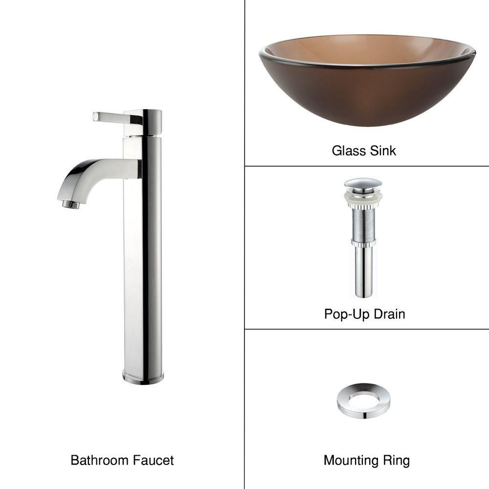 Frosted Glass Vessel Sink in Brown with Ramus Faucet in Chrome