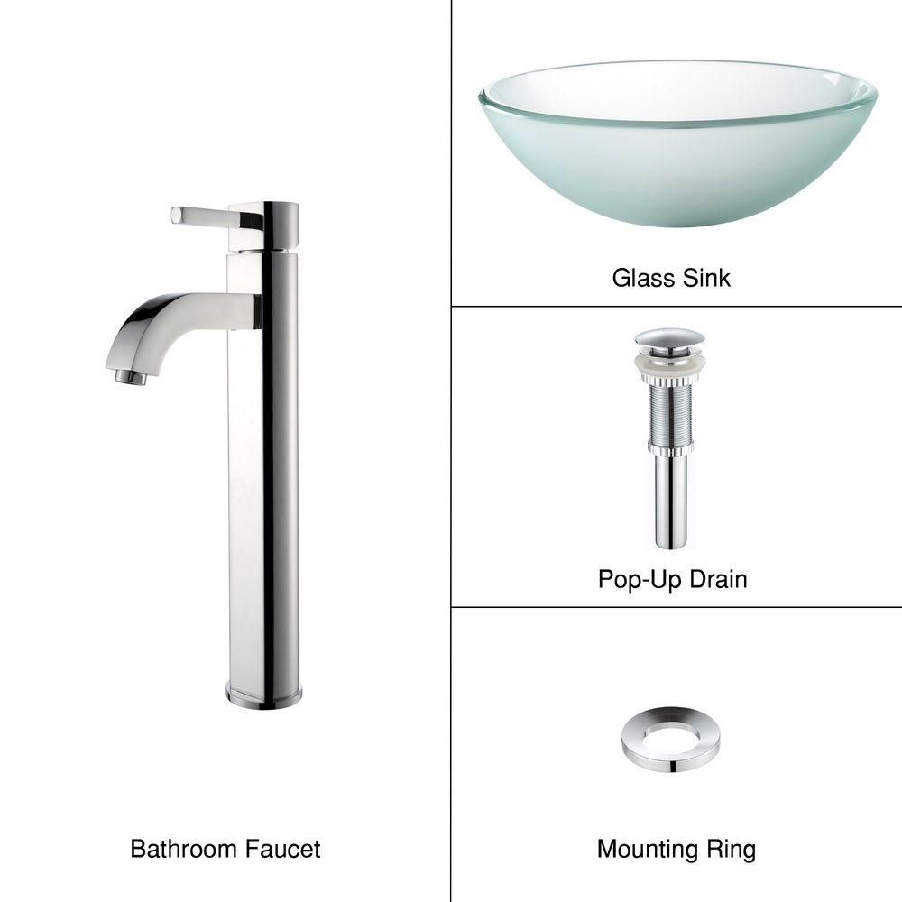 Frosted Glass Vessel Sink with Ramus Faucet in Chrome