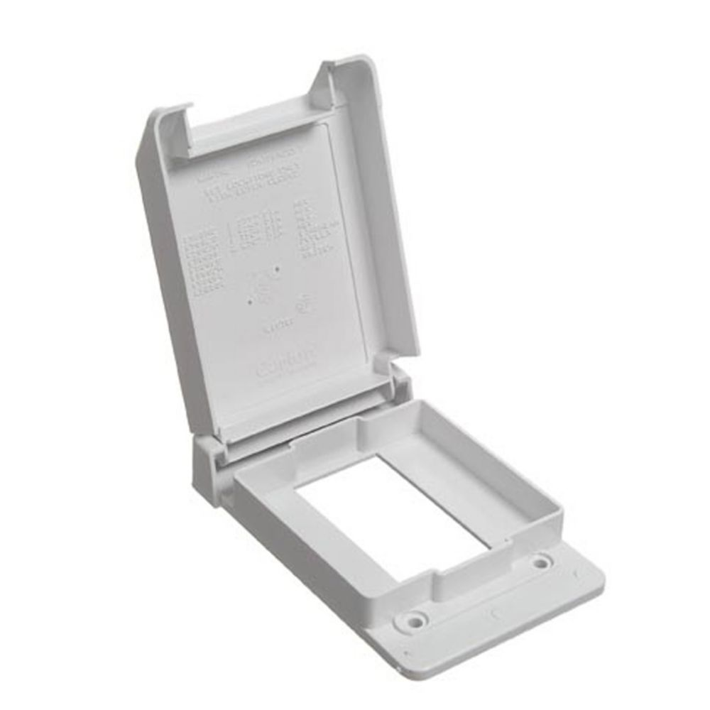 Weatherproof Single Gang GFI Vertical PVC Cover � White