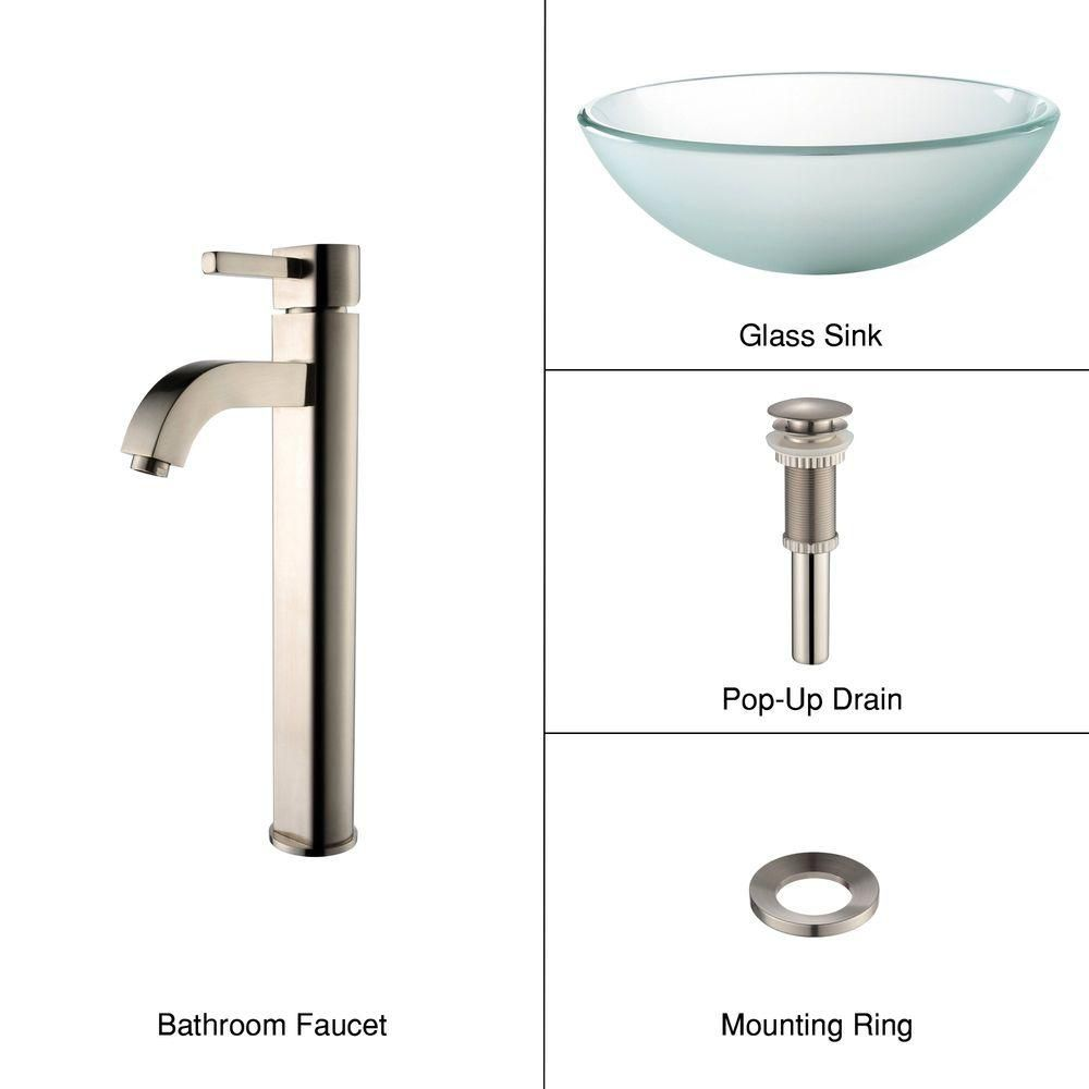Frosted Glass Vessel Sink with Ramus Faucet in Satin Nickel