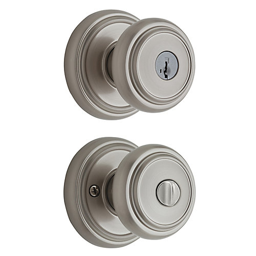 Wickham Satin Nickel Keyed Entry Knob with SmartKey