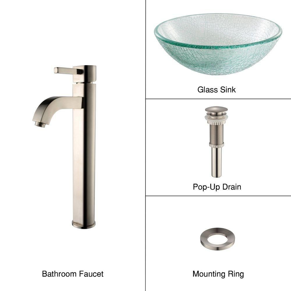 Glass Vessel Sink in Mosaic with Ramus Faucet in Satin Nickel