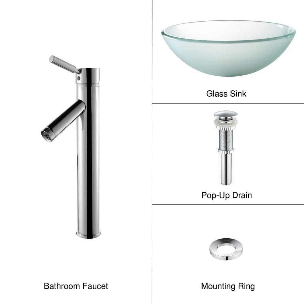 Frosted Glass Vessel Sink with Sheven Faucet in Chrome