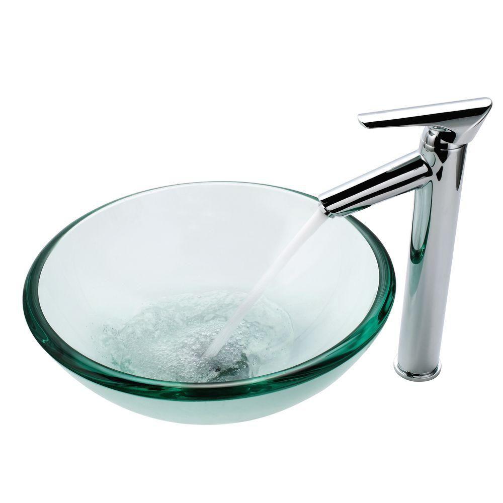Lavabo-vasque en verre transparent de 19 mm d'épaisseur et robinet Decus, chrome