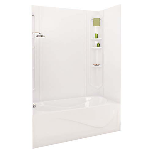 White Margarita Acrylic Tub Wall Kit 73 Inches