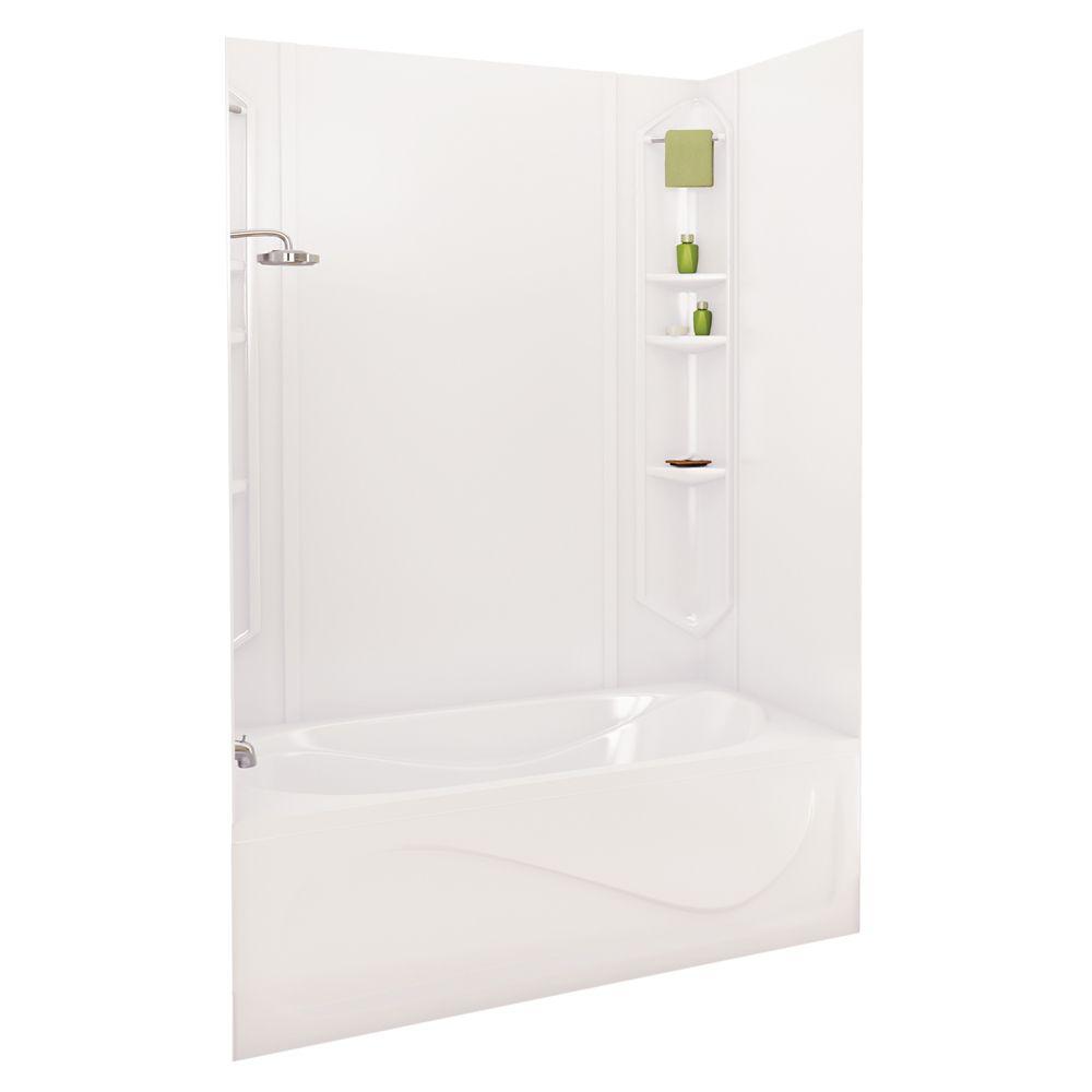 White Margarita Acrylic Tub Wall Kit 73 Inches