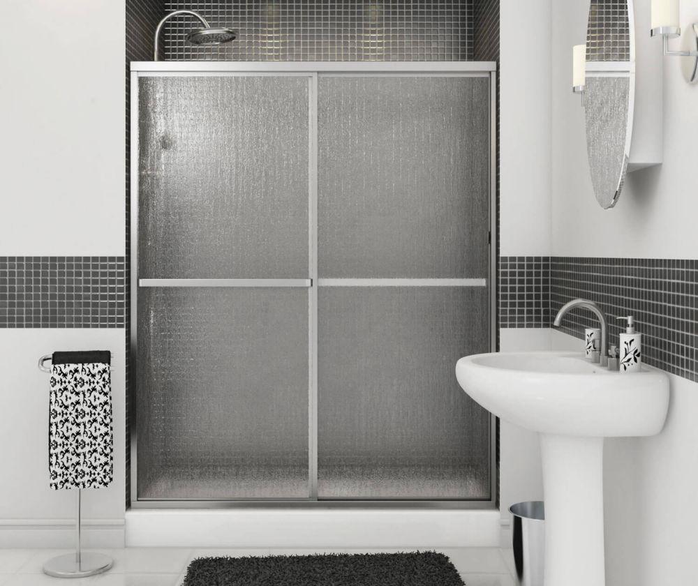 Soul - Porte de douche  2 panneaux avec cadre chrome 59 1/2 pouces