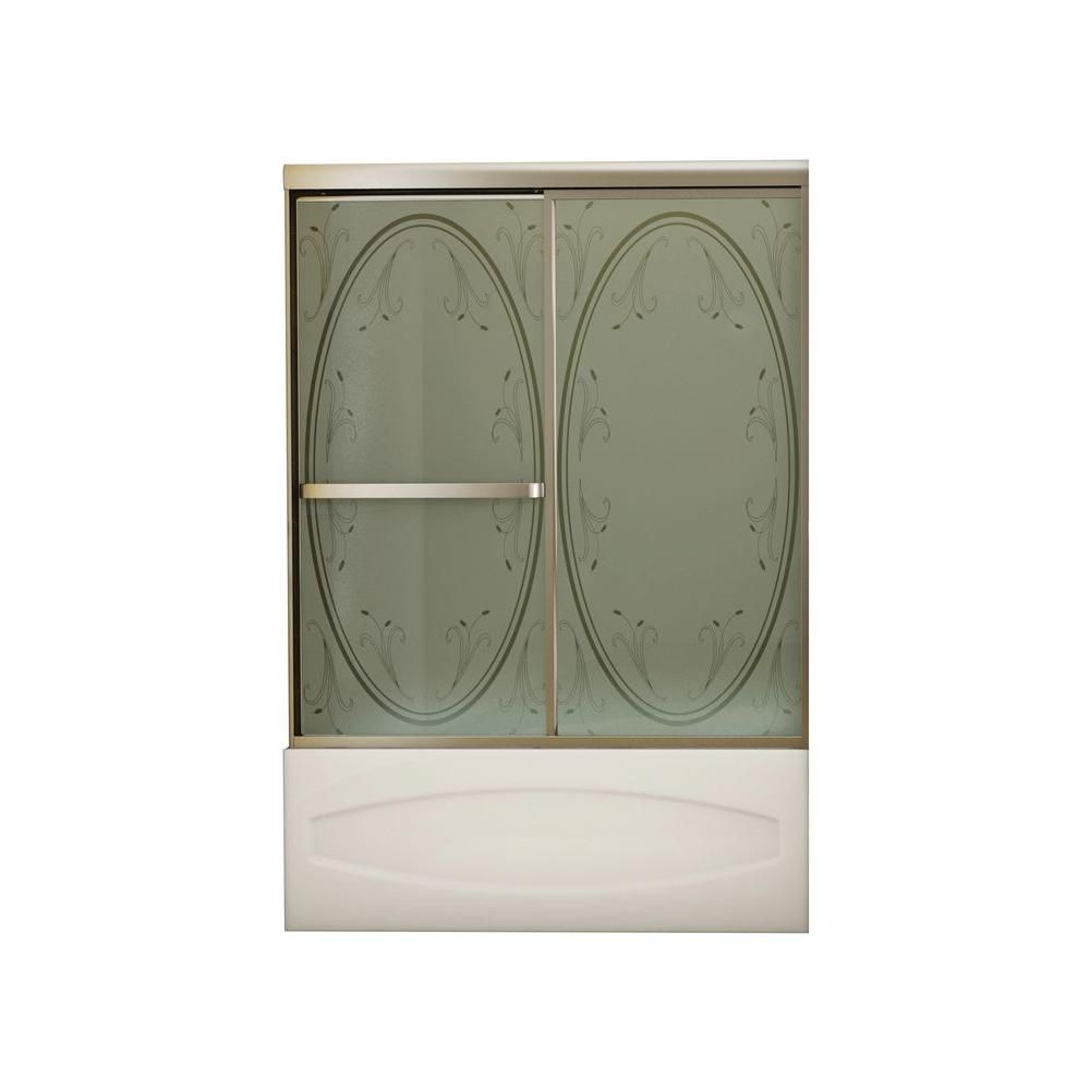 Vertiga 2-Panel Satin Nickel Tub Door