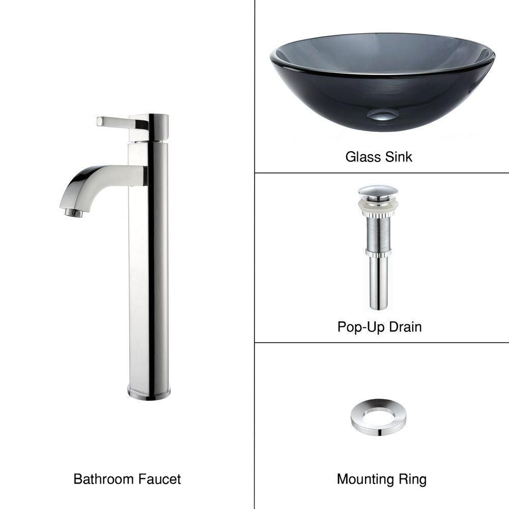 Kraus Home Depot : Kraus Clear Black Glass Vessel Sink and Ramus Faucet Chrome The Home ...