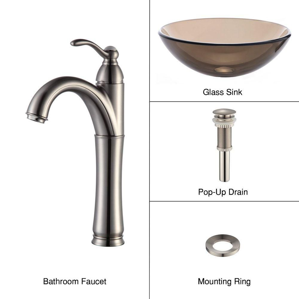 Clear Glass Vessel Sink in Brown with Riviera Faucet in Satin Nickel