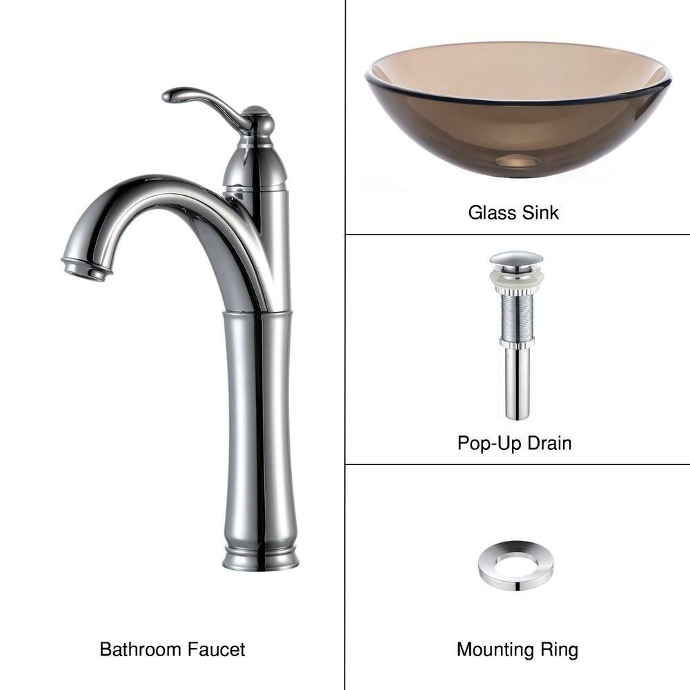 Clear Glass Vessel Sink in Brown with Riviera Faucet in Chrome