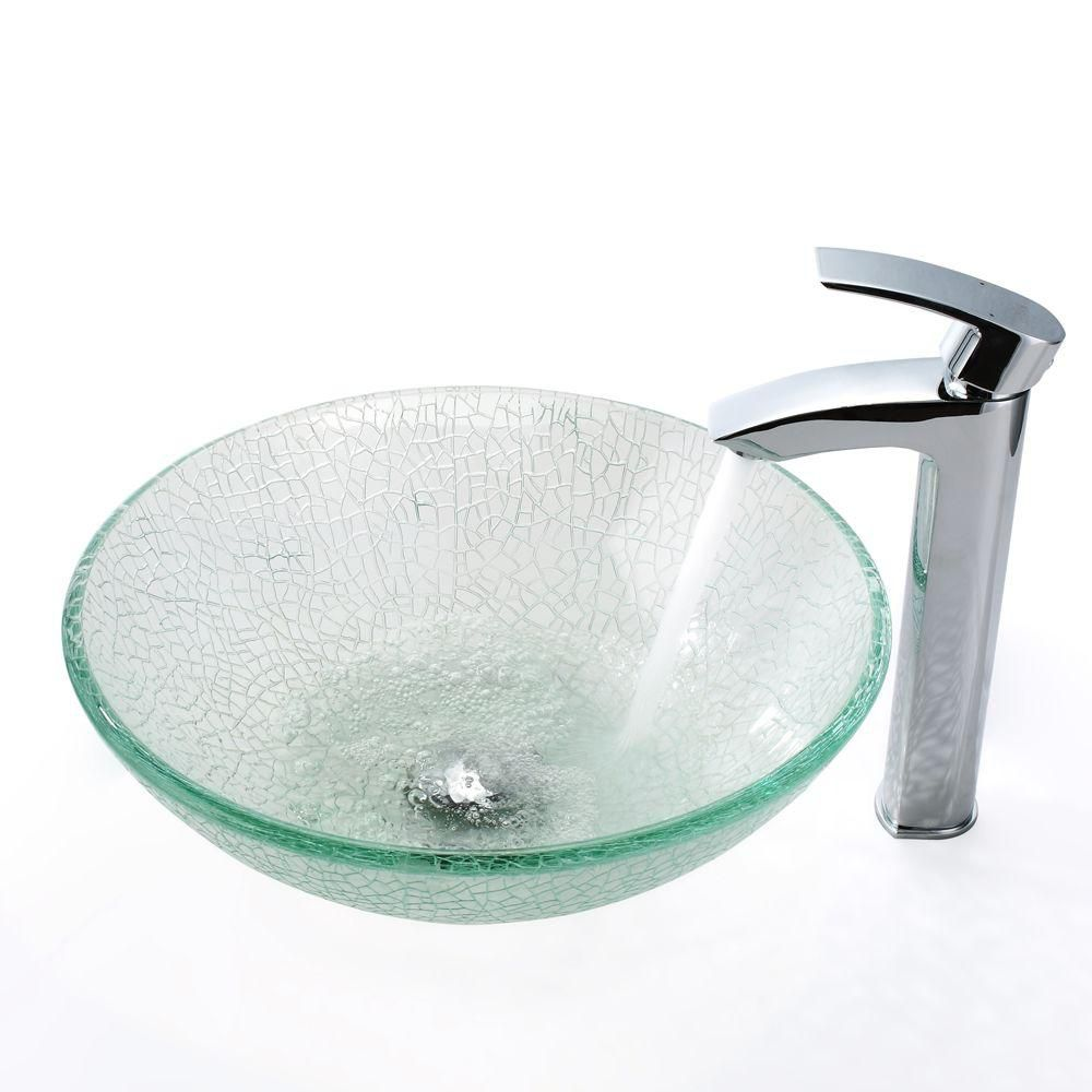 Glass Vessel Sink in Mosaic with Visio Faucet in Chrome