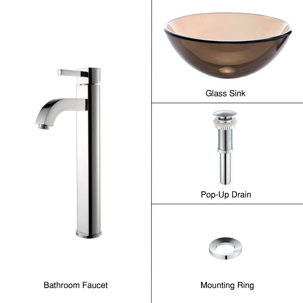 14-inch Clear Glass Vessel Sink in Brown with Ramus Faucet in Chrome