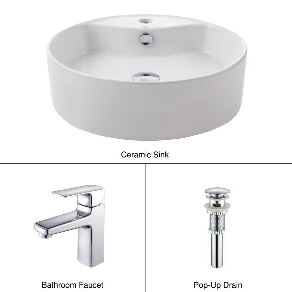 Round Ceramic Sink in White with Virtus Basin Faucet in Chrome