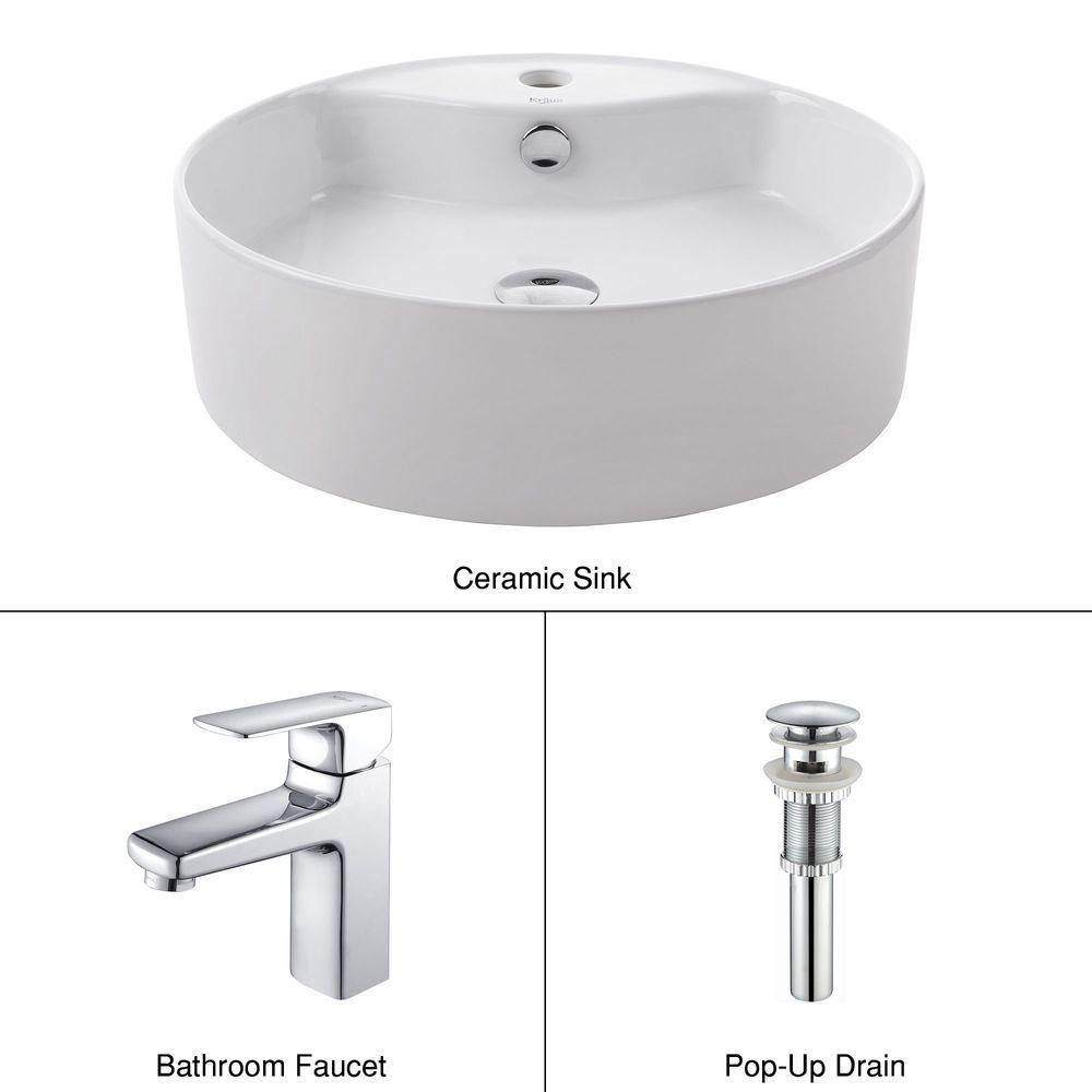 Lavabo rond blanc en céramique avec robinet de bassin Virtus, chrome