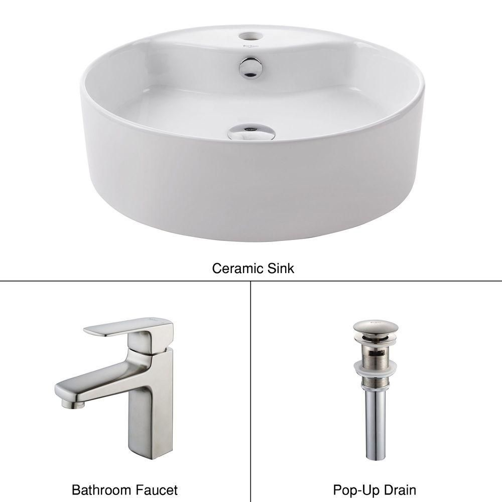 Round Ceramic Sink in White with Virtus Basin Faucet in Brushed Nickel
