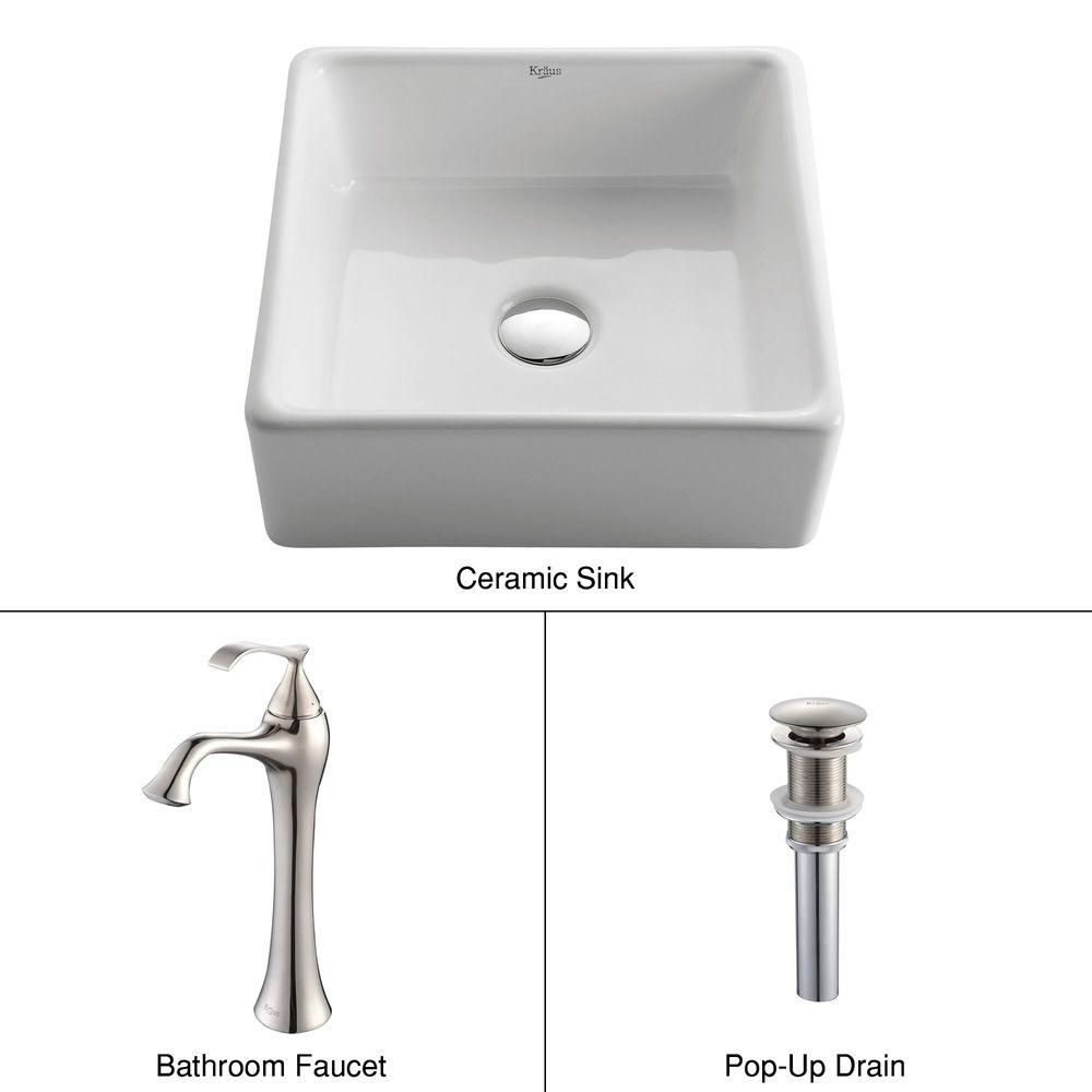 Square Ceramic Sink in White with Ventus Faucet in Brushed Nickel
