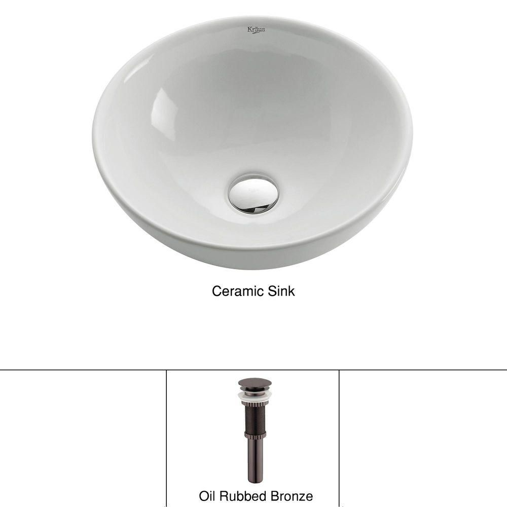 Round Ceramic Sink in White with Pop-Up Drain in Oil-Rubbed Bronze