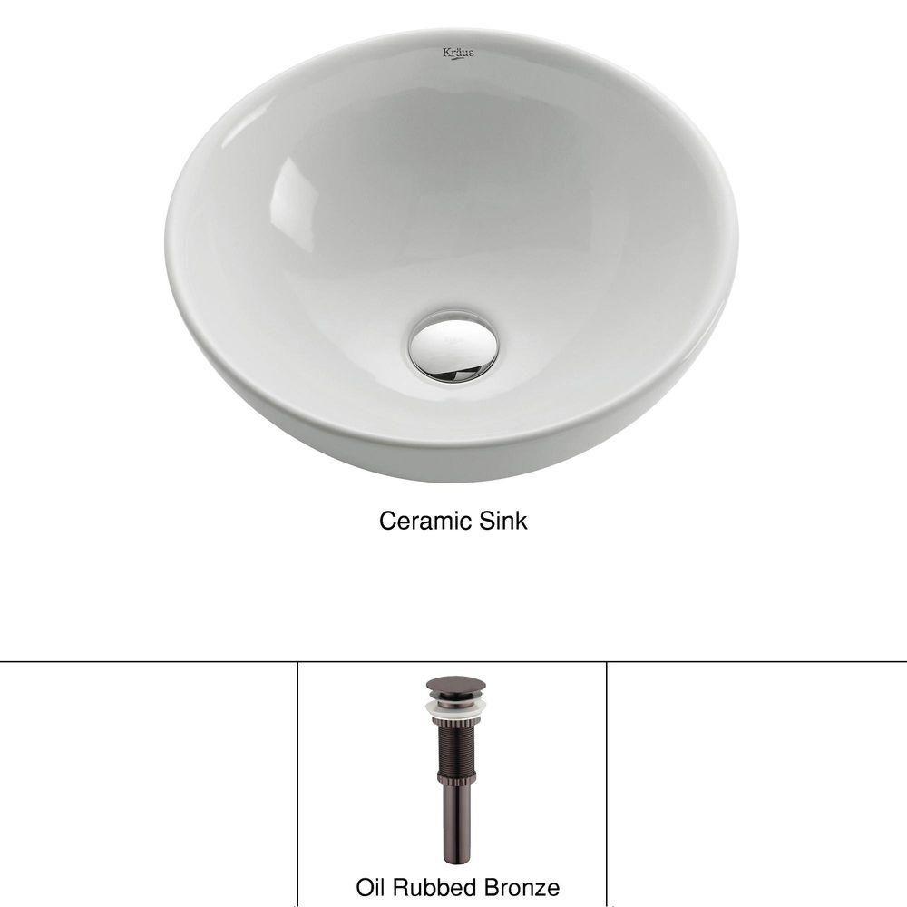Lavabo rond blanc en céramique avec drain escamotable, bronze huilé