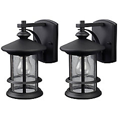 Ryder 1 Light Black Wall Lantern - Twin Pack, Seeded Glass