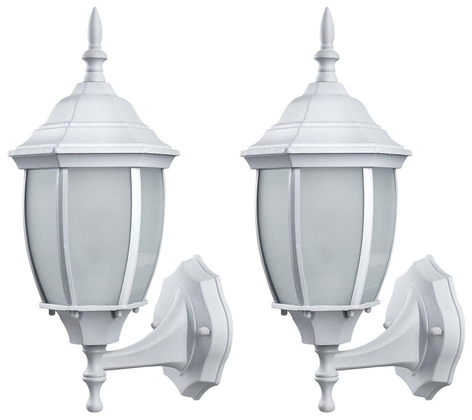 Hayden 1 Light White Wall Lantern - Twin Pack, Frosted Glass