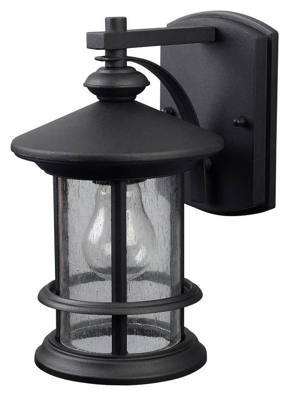 Ryder 1 Light Black Wall Lantern, Seeded Glass