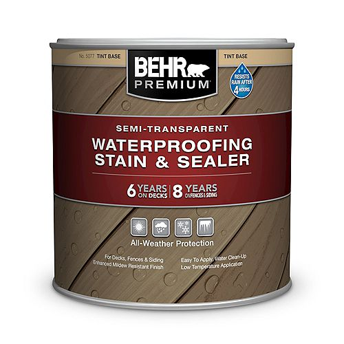 Behr Premium Semi-Transparent Deck, Fence & Siding Weatherproofing Wood Stain, 222mL