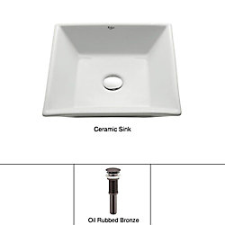 Kraus 16.80-inch x 4.72-inch x 16.80-inch Square Ceramic Bathroom Sink with Drain in Bronze